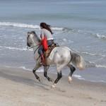 По берегу на лошади